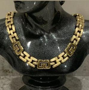 Vintage Givenchy Collar Necklace GG LOGO Runway